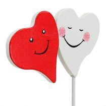 Pique duo de coeurs rouges et blancs 8 x 5 cm 12 p.