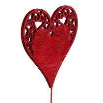 Cœur rouge, blanc sur fil 7,5-8,5cm L30cm 12P