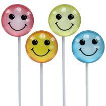Mélange de smileys colorés sur tige 3,5 cm 8 p.