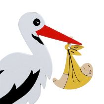 Pique cigogne avec bébé 10 cm L. 28 cm 14 p.
