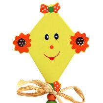 Tige à piquer pour fleurs avec cerf-volant jaune L. 31 cm 4 p.