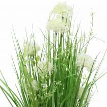 Bouquet déco debout bouquet de fleurs de prairie vert, blanc artificiel 51cm