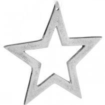 Etoile à suspendre décoration de Noël en aluminium argenté 15,5×15cm