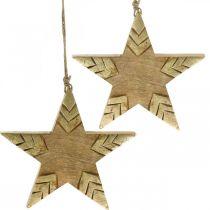 Etoile en bois de manguier naturel, étoile en bois doré grande à suspendre 25cm 2pcs