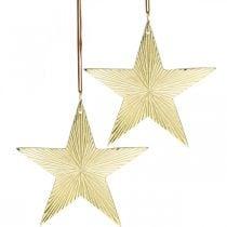 Etoile dorée, décoration de l'Avent, pendentif décoration pour Noël 12 × 13cm 2pcs
