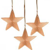 Pendentif étoile, décoration de Noël, décoration en métal couleur cuivre 9,5 × 9,5cm 3pcs