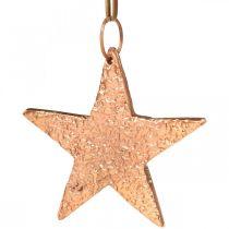 Etoile en cuivre à accrocher, décoration sapin de Noël, pendentifs métal 8×9cm 2pcs