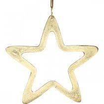 Pendentif Noël, décoration étoile pour l'Avent, décoration étoile dorée 14×14cm