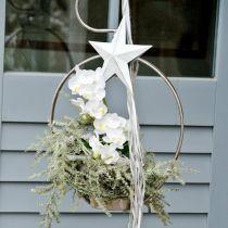 Etoile à accrocher, décorations de sapin de Noël, décoration métal blanc 19,5 × 18,5cm