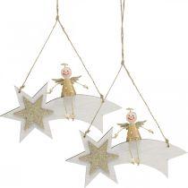 Ange sur étoile filante, Décoration de Noël à accrocher, Blanc de l'Avent, Doré H13cm L21.5cm 2pcs