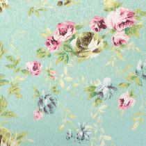 Tissu décoratif vert avec fleurs 30 cm x 3 m