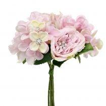 Bouquet rose avec perles 29 cm
