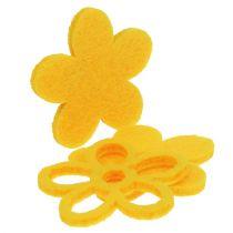 Décoration à parsemer lot de fleurs jaunes en feutrine 4 cm 72 p.