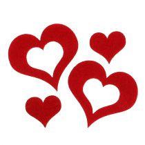 Cœurs décoratifs en feutrine à parsemer 2,5 – 5 cm rouge 24 p.