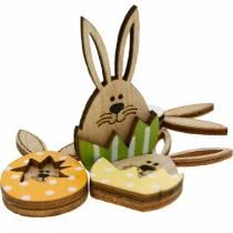 Décoration de litière lapin en oeuf, décoration cadeau, oeuf de lapin à décorer, décoration bois à coller sur 12pcs