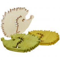 Décoration à parsemer hérissons en bois colorés 4 cm 72 p.