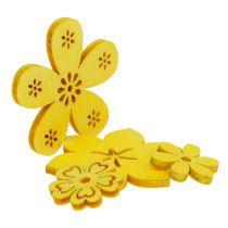 Déco à parsemer fleur en bois jaune 2 - 4 cm 96 p.