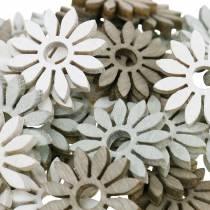 décorations à épandre fleur marron, gris clair, fleurs en bois blanc à disperser 144p