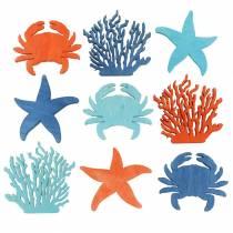 Décoration maritime à épandre Bois Bleu clair, Bleu, Orange Assorti 4cm 72p
