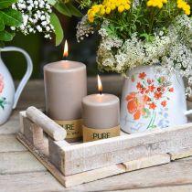 Bougie pilier pure marron 90/60 bougie cire naturelle décoration durable bougie stéarine colza