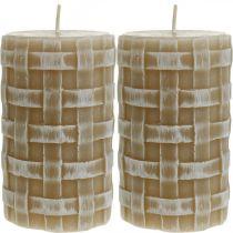 Bougies rustiques en cire, bougies piliers brunes, bougies tressées 110/65 2pcs