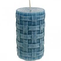 Bougies pilier bleues, bougies en cire Rustique, bougies avec motif tressé 110/65 2pcs