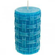 Bougies piliers rustiques, bougies motif panier, bougies en cire turquoise 110/65 2pcs