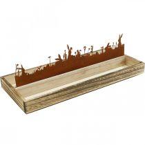 Plateau décoratif Prairie de Pâques, décoration printanière, plateau en bois avec rouille inox 35 × 15cm