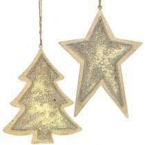 Pendentifs en métal sapin et étoile, décorations d'arbre de Noël, décoration de Noël dorée, aspect antique H15.5 / 17cm 4pcs