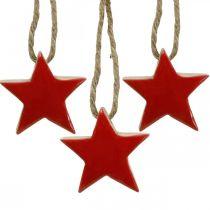 Étoile en bois décorations de sapin de Noël rouge, étoiles décoratives naturelles 5cm 24pcs