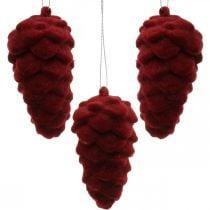 Cônes décoratifs floqués, décoration automne, pommes de pin rouges, Avent H8.5cm Ø4.5cm 8pcs