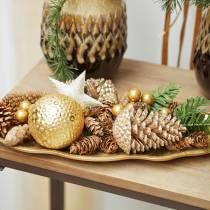 Pommes de pin or, paillettes 13cm 4pcs Décorations pour sapin de Noël