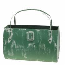 Cache-pot métal vert, blanchi blanc H16cm