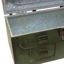 Jardinière avec couvercle et lanières en cuir gris métal, marron / rouille H25cm