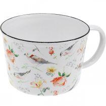 Coupe à plantes oiseaux/fleurs, cache-pot, coupe décorative émaillée, cache-pot Ø10cm H7cm