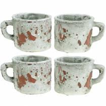 Cache-pot pot de fleurs vintage gris, argile naturelle Ø8,5cm H8cm 4pcs