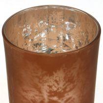 Lanterne en verre, photophore en verre motif feuille, décoration automne Ø8cm H9cm 2pcs
