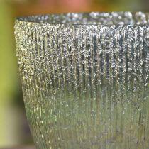 Bougie lanterne en verre bleu vert décoration de table verre Ø21cm H21.5cm