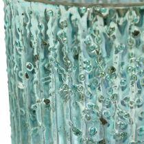 Bougie chauffe-plat verre lanterne bleue décoration bougie 8cm