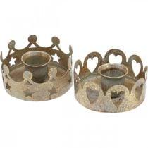Bougeoir métal pour bougies coniques optique antique or Ø7cm 4pcs