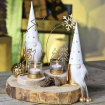 Figurine déco de Noël Gnome blanc, or Ø6.5cm H22cm 2pcs