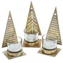 Photophore sapin de Noël en métal, lanterne en verre H15cm 3pcs