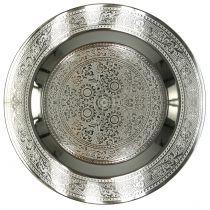 Assiette décorative Marrakech argent Ø33cm