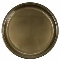 Assiette décorative en bronze métallique effet glaçure Ø50cm