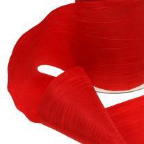Chemin de table en tissu crash rouge 100 mm 15 m
