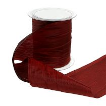 Chemin de table en tissu crash bordeaux 100 mm 15 m