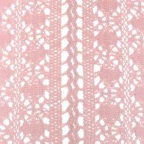 Chemin de table dentelle au crochet rose 30 x 140 cm