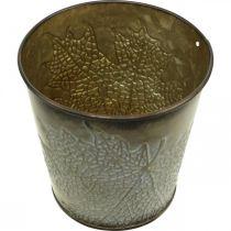 Jardinière pour l'automne, pot en métal à décor de feuilles, jardinière dorée Ø10cm H10cm