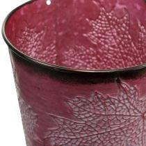 Pot décoratif pour plantation, seau en métal, décoration en métal avec motif feuille rouge vin Ø14cm H12.5cm