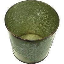 Jardinière pour l'automne, jardinière à décor de feuilles, seau en métal vert Ø14cm H12.5cm